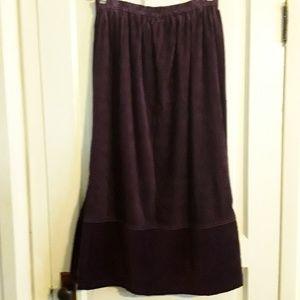 Denim & Co Pencil Purple Corduroy & Velvet Skirt